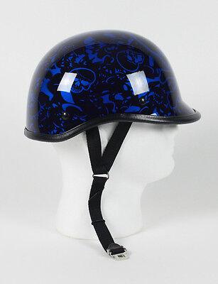 Blue Skull Polo NOVELTY Jockey Motorcycle Helmet Skeleton Biker Shorty M L XL