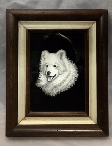 "Samoyed Dog  3D head papercut artwork framed 10""x8"" vintage"