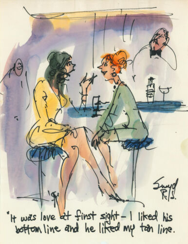 Doug Sneyd Signed Original Art Playboy Gag Rough Sketch ~ Love & First Sight