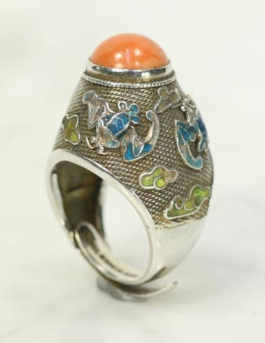 Vintage Coral Chinese Sterling Silver Ring Adjustable. Cloisonne Bats Clouds