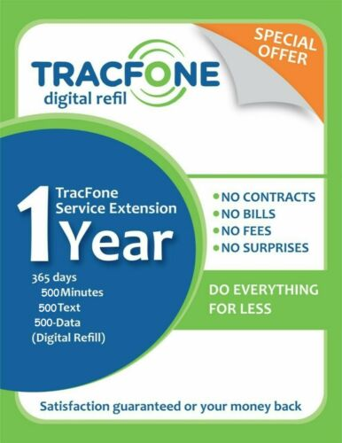 TracFone Service Extensión 1year/365days/500minutes/500text/500Data (Digital)