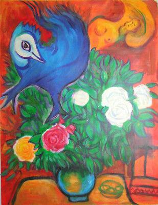 handgemalte Reproduktion Ölgemäldes von Chagall, Blumen, vogel und Liebe,60x80cm