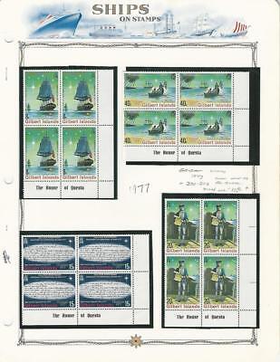 Gilbert Islands, Postage Stamp, #300-303 Blocks Mint NH, 1977 Ships, Cook