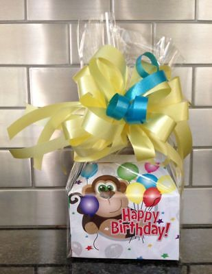 Birthday Monkey Gift - Happy Birthday Kids Monkey Candy Gift Box-Basket Wrapped With Yellow Bow & Card