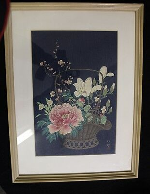 Japanese Signed & Framed 1923 Woodblock Print by Shosan Ohara * Floral *