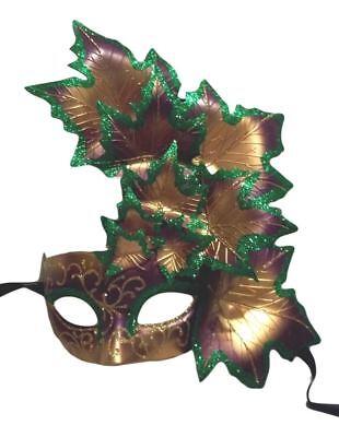 Purple Green Gold Leaf Cascade Mask Masquerade Prom Mardi Gras (Leaf Cascade)
