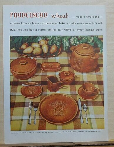 1953 magazine ad for Franciscan Wheat dishes by Gladding McBean & Co.