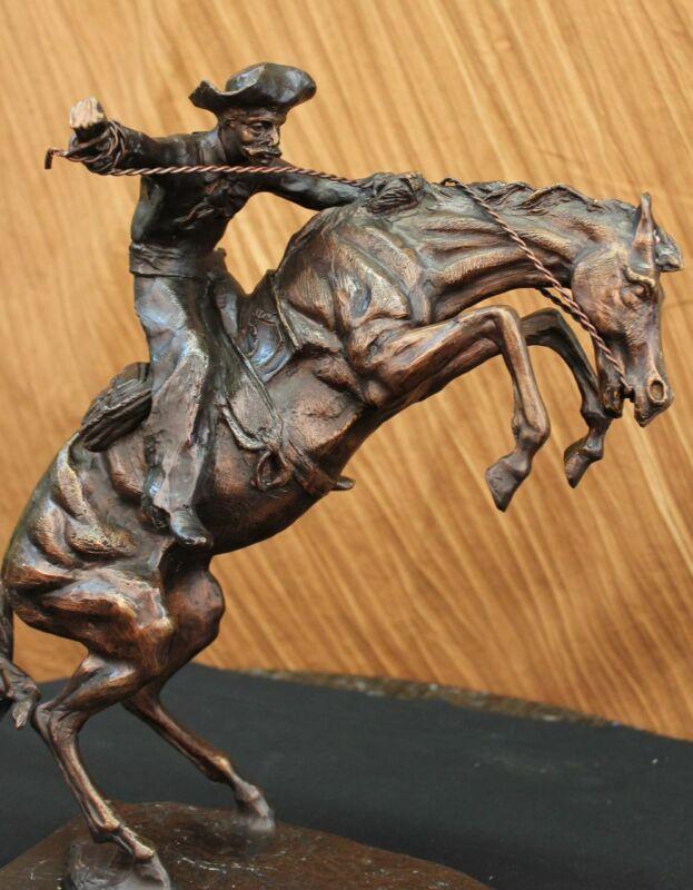 "FREDERICK REMINGTON BRONZE `` BRONCO BUSTER`` BIG SIZE 17"" Tall Statue Sculpture"