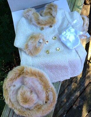 American Girl Melody Kostüm Mantel Nib Hut Handschuhe Weihnachten Elegant Brokat