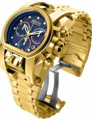 Invicta Reserve Bolt Zeus Magnum Watch 2 Swiss Mvmts 18k Gold Plated Black MOP