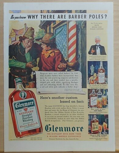 1939 magazine ad for Glenmore Bourbon Whiskey - Why Are There Barber Poles?