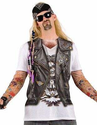Mens Biker Vest Costume T-shirt Funny Tee Tattoo Sleeve Sleeves Rocker Tshirt