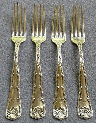 FOUR Tiffany Sterling Silver Wave Edge Dinner Forks  Tiffany Sterling Wave