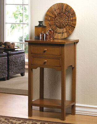 "27"" Tall Brown Wood Side Table With Two Drawers Square End Night Stand Modern"