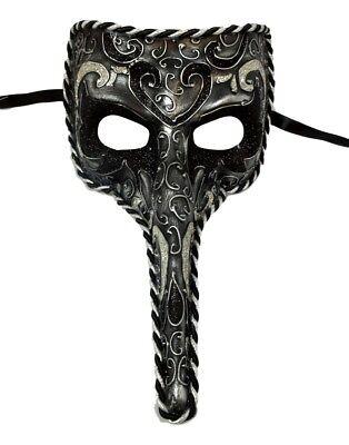 Black Long Nose Bird Beak Masquerade Venetian Mask Zanni Plague Doctor