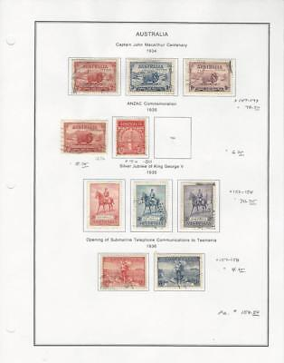 Australia Collection 1934-36 on Album Page, #147-150, 152-154, 157-158 Used
