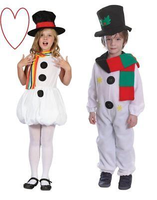 Jungen Mädchen Schneemann Snowgirl Kostüm Outfit Weihnachten Kinder