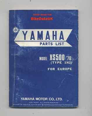 Yamaha XS500 (1976->) Genuine Factory Parts List Catalog Book Manual XS 500 BG62