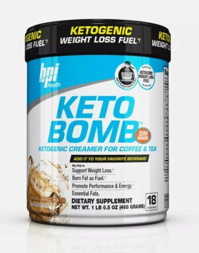 BPI SPORTS KETO BOMB Ketogenic Creamer for Coffee & Tea ~ Caramel Macchiato