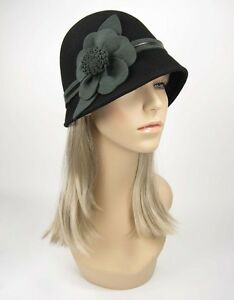1920s-Style-CLOCHE-Flapper-Flower-Black-Hat