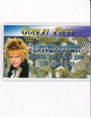 Labyrinth Jareth the GOBLIN KING David Bowie Drivers License fake id i.d. card - Jareth Goblin King Costume