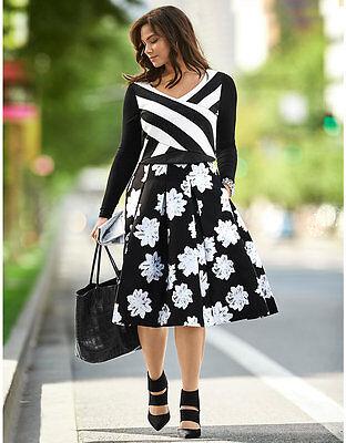 Lane Bryant Floral Box Pleated Womens Skirt Plus Size 28 NWT Midi Sateen Circle