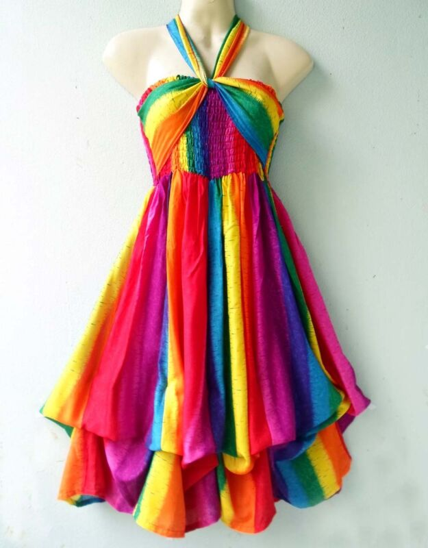 BEACH RAINBOW 3IN1 PARTY HALTER SKIRT BOHO NEW SUMMER LADY SUNDRESS SIZE S M L
