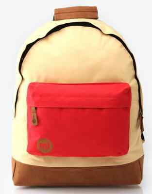 BNWT Mi-Pac Two Tone Backpack Rucksack School Beige Red Pockets Unisex Student
