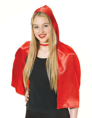 Ladies Short Satin Red Riding Hooded Cape Hood Cloak Halloween Costume Accessory