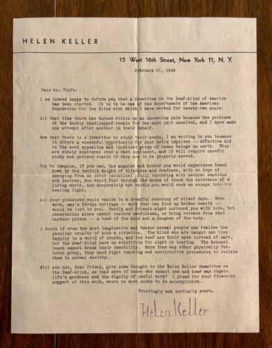 Helen Keller Autographed Letter with Envelope -- Typed Letter