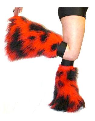 Pink Yellow Camo Neon Flo Fluffy Legwarmers Boot Covers Dancewear Clubbing Rave  (Camo Boot Covers)