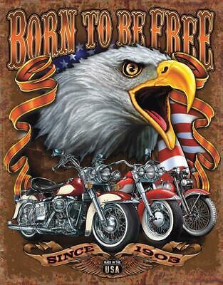 Born Free Metal Tin Sign Motorcycle Home Garage Shop Bar Wall Decor #2451