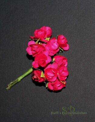 12 Strauß (12 Mini-Rosen im Strauß Papierblumen zum Basteln, Blüte ca. 1,5 cm (#4))