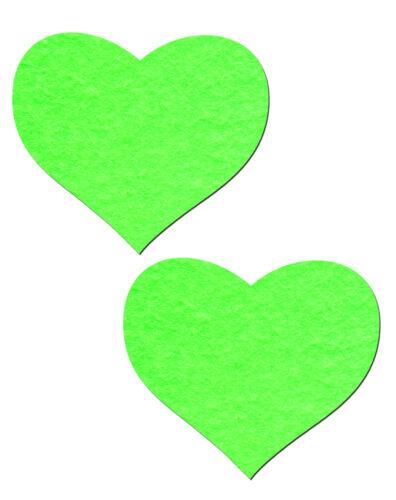 Heart Nipple Pasties Neon Green & Glow-in-the-Dark Pasties by Pastease