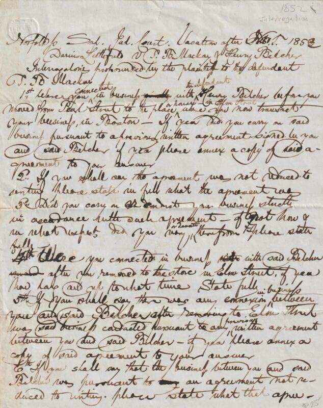 19 Century 1852 Handwritten Document, Interrogation / Deposition /Statement ? VF