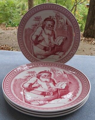 FOUR Williams Sonoma Spode Saint St Nick Santa Dessert Salad Plates England Mint