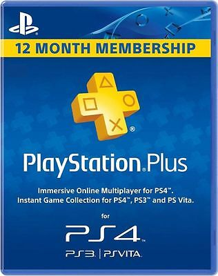 12 Month   1 Year Playstation Plus Membership Usa  Canada  Mexico Ps4 Ps3 Vita
