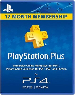 Sony PlayStation Plus 1 Year Membership Subscription Card 12 Month
