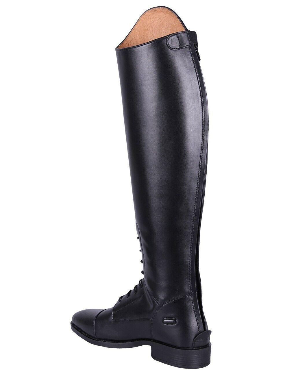 Schwarz QHP Leder-Reitstiefel Romy f/ür Kinder mit austauschbarem Design normale Wadenweite