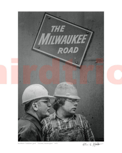 "Milwaukee Road Tacoma Tideflats ""Hardhats,"" B&W 16X20"" photo print by Kooistra"