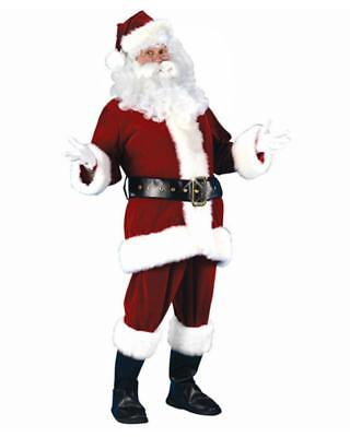 Santa Claus Costume 6Pc Rich Dk Red Velvet Coat Pants Hat Boot Tops & Belt XXL  - Santa Claus Coat