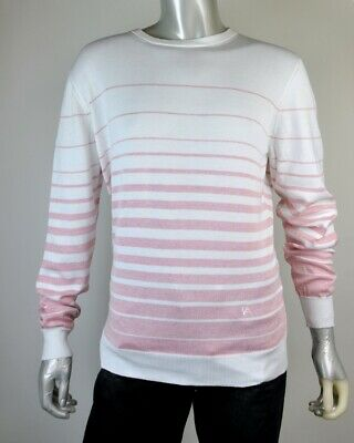 $696 NWT Gianluca Isaia Faded Stripe Pink Cotton Crewneck Sweater 48-52 US S-L