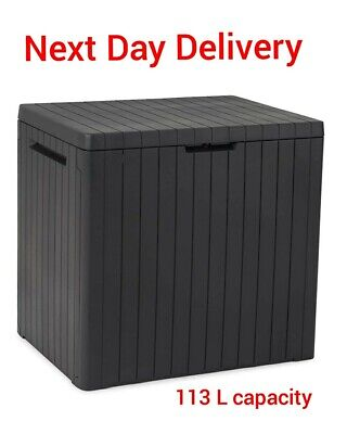 Keter City Outdoor Garden Storage Box Grey, 113 Litre Capacity NEXT DAY DELIVERY