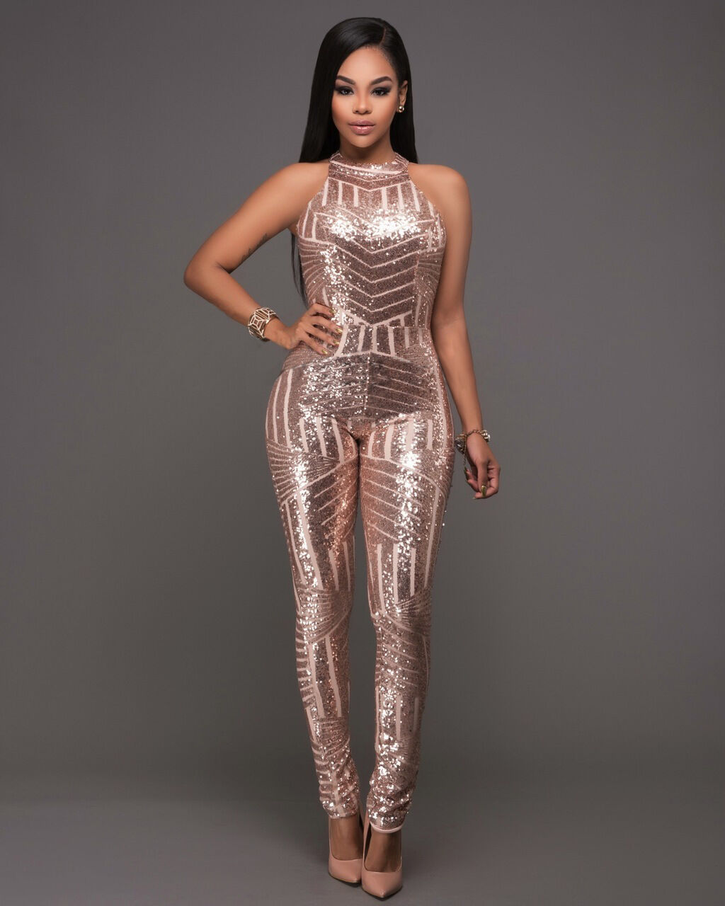 5fcd41548db0 Details about Elegant Women Sequin Clubwear Sleeveless Bodycon Romper  Jumpsuit Party Overalls