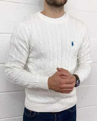 Ralph Lauren Long Sleeves Cable Net Cotton Sweater For Men's In Modern Look