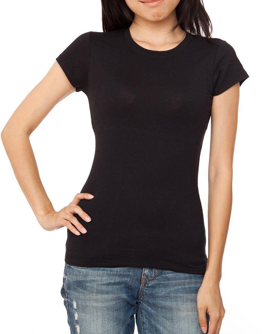 New women 39 s girls plain t shirt crew neck summer t shirt for Plain white tee shirt womens