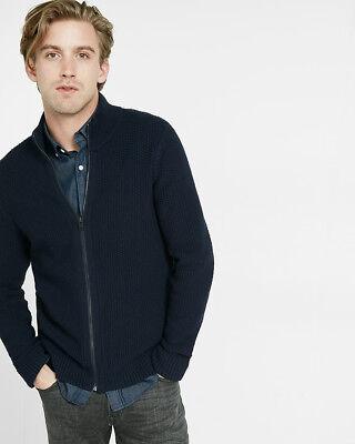 Express full zip mock neck sweater Men Sweater Sz L $98 NWT Navy
