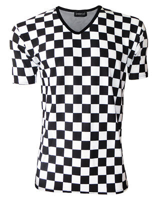 Printed V-neck Tee (Men's Classic Monochrome Chess Checkerboard Printed V Neck Top T-Shirt Tee)