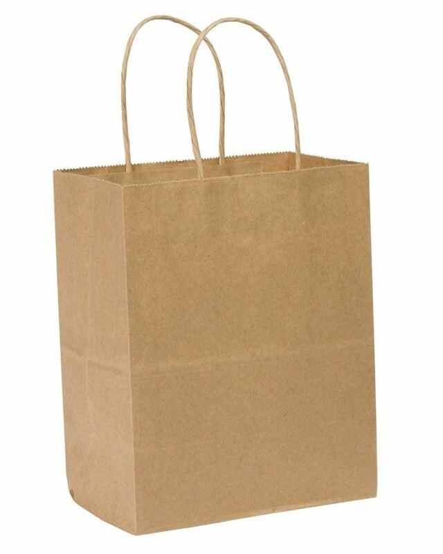 "Rope Handle Paper Shopping Bags Luna 8x5x10"" Natural Kraft (250/Case)"