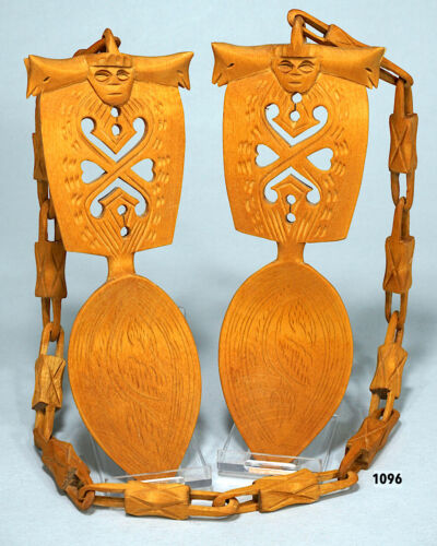 Norwegian Norway Wedding Spoons Wood Chain Animal Figures